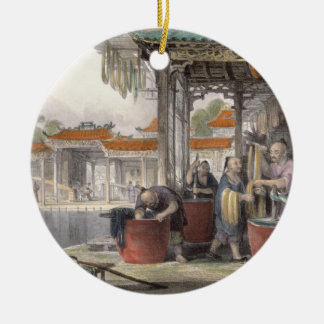 Dyeing and Winding Silk, from 'China in a Series o Round Ceramic Decoration