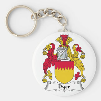Dyer Family Crest Basic Round Button Key Ring