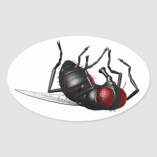 Dying Fly Oval Sticker