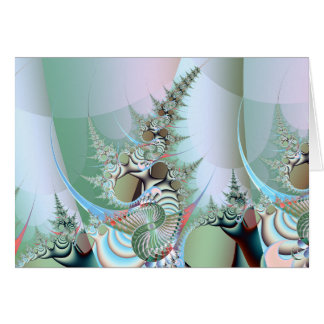 dying forest detail: trees with gasmasks greeting card