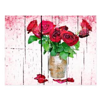 Dying Red Roses Postcard