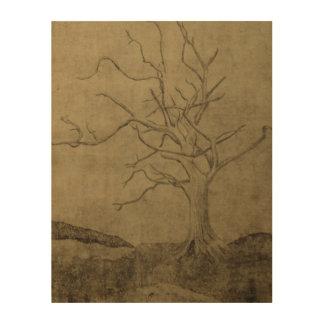 Dying Tree on Wood Print