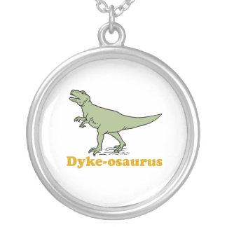 Dyke-osaurus Round Pendant Necklace
