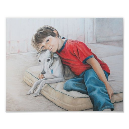 Dylan and Bailey Whippet and Boy Art Print Photo Art