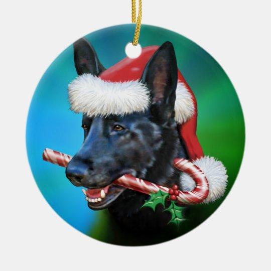 Dylan, The Black German Shepherd Christmas Ornament