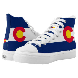 Dynamic Colorado State Flag Graphic on a High Tops