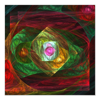 Dynamic Connections Abstract Art 13 Cm X 13 Cm Square Invitation Card
