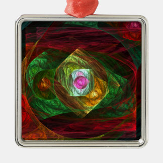 Dynamic Connections Abstract Art Square Christmas Ornament