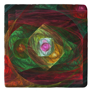 Dynamic Connections Abstract Art Stone Trivet