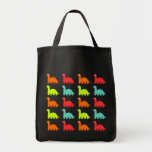 Dynamic Dinos Pattern Grocery Tote Bag