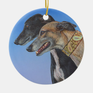 Dynamic Duo Doberman Whippet dog painting art Round Ceramic Decoration