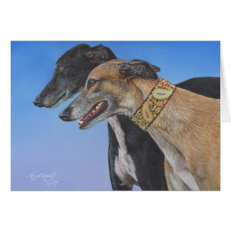 Dynamic Duo Greyhound Whippet Dog Card