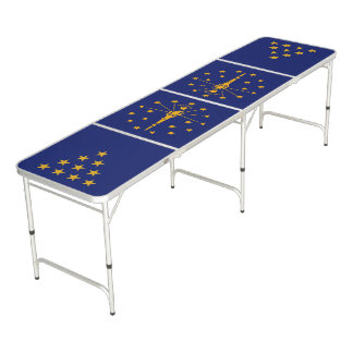 Dynamic Indiana State Flag Graphic on a Pong Table