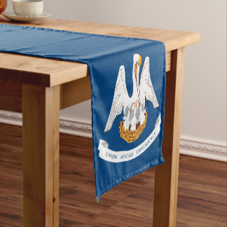 Dynamic Louisiana State Flag Graphic on a Short Table Runner