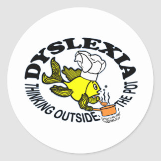 Dyslexia Chef Fish Sparky thinking outside the pot Classic Round Sticker