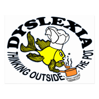 Dyslexia Chef Fish Sparky thinking outside the pot Postcard