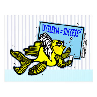Dyslexia Teacher Fish ~ Dyslexic success Postcard