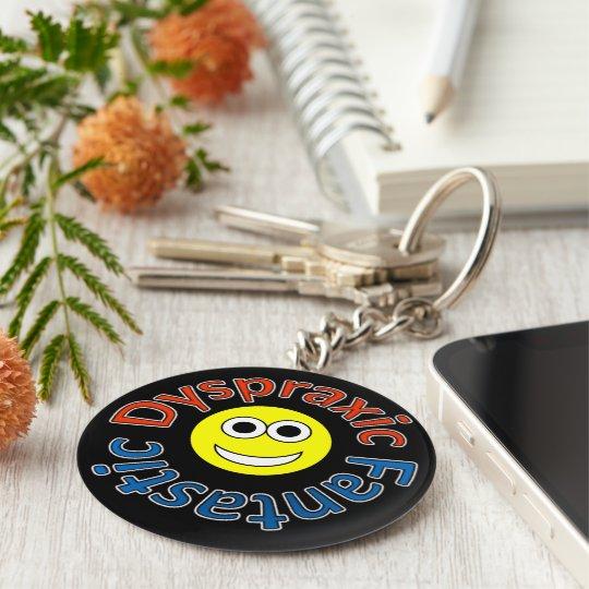 Dyspraxic Fantastic Smiley Keyring Basic Round Button Key