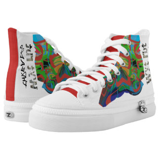 Dystopian abstract graffiti (retro colours) high tops