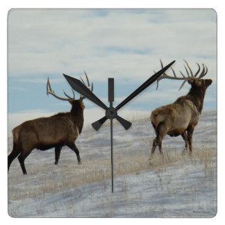 E0057 Bull Elk Lucky 13 Bull Wall Clock