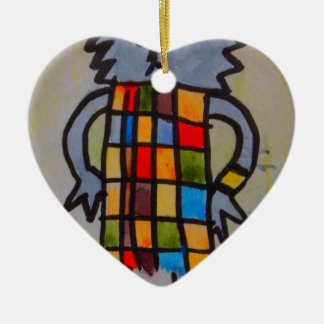 """E17 Art Trail"" cat in coloured dress. Ceramic Heart Decoration"