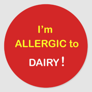 e8 - I'm Allergic - DAIRY. Classic Round Sticker