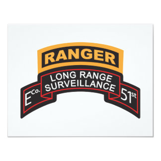 E Co 51st Infantry LRS Scroll, Ranger Tab 11 Cm X 14 Cm Invitation Card