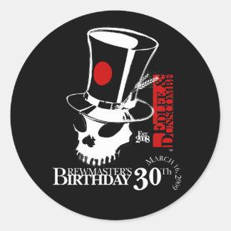 E&D Brew Masters 30th Birthday Classic Round Sticker