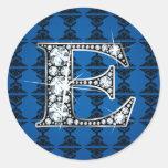 """E"" Diamond Bling on Damask Sticker"