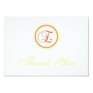 E Dot Circle Monogam Thank You (Orange / Yellow) 9 Cm X 13 Cm Invitation Card