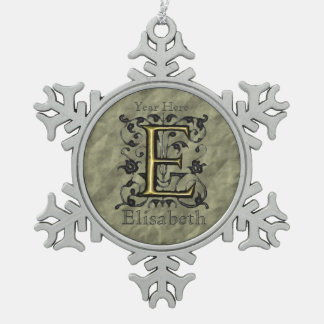 E - Embossed Vintage Monogram (Gold) Pewter Snowflake Decoration