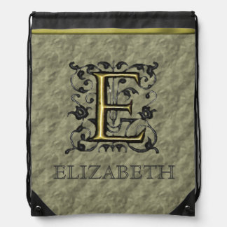 E - Embossed Vintage Monogram (Gold) Drawstring Bags