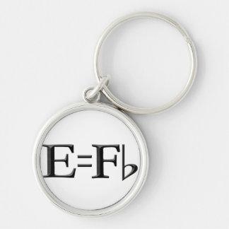 e=f flat kechain Silver-Colored round key ring