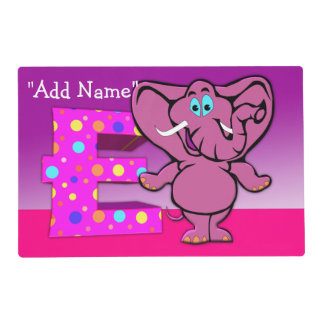 """E"" Initial Elephant Artmat Laminated Placemat"