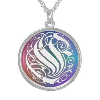 "E Initial Monogram ""Blue Gothic Whimsy"" Necklace"