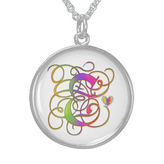"""E Initial Monogram """"Gothic Sunshine"""" Necklaces Sterling Silver Necklaces"""