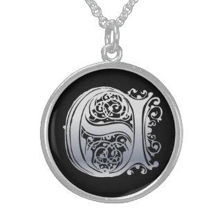"E Initial Monogram ""Silver Lace on Black"" Necklace Necklaces"