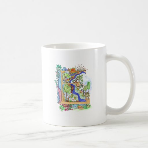 E, initial, monogram, wedding basic white mug