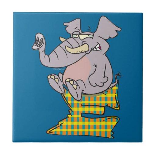 E is for elephant abc letter cartoon ceramic tile