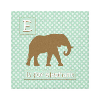 """""""E"""" is for Elephant Stretched Canvas Prints"""