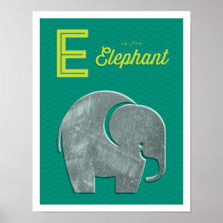 E is for Elephant Nursery Art Poster