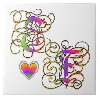 E Loves F Monogram Ceramic Tile Tiles