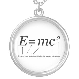E=MC2 Einstein's Theory of Relativity Silver Plated Necklace