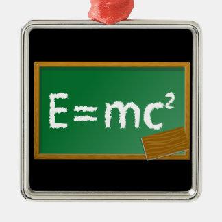 E=mc2 Silver-Colored Square Decoration