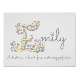 E monogram art Emily girls name meaning poster
