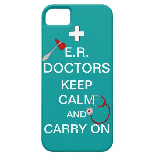 E.R. Doctors Keep Calm+Stethoscope/Blue-Green Cover For iPhone 5/5S