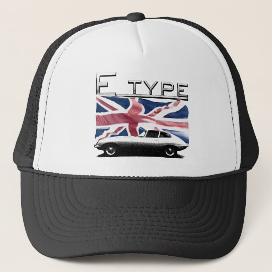 E-type Jag on the Union Jack background hat