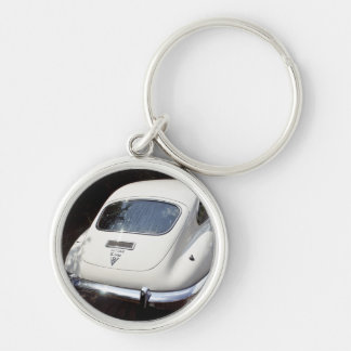 E-Type Jaguar Silver-Colored Round Key Ring