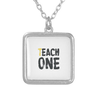 Each one Teach one Square Pendant Necklace