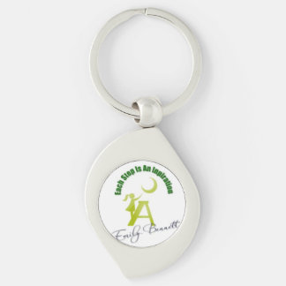 Each Step Is an Inspiration My Author Logo Silver-Colored Swirl Key Ring